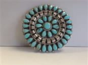 Turquoise Silver-Stone Brooch 925 Silver 14.3g